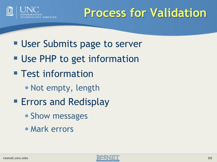 Process for Validation
