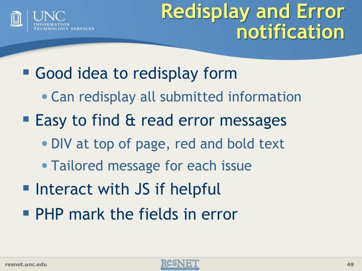 Redisplay and Error notification