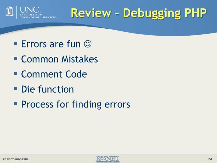 Review – Debugging PHP