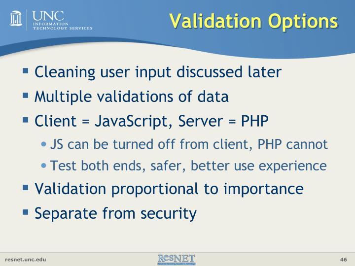 Validation Options