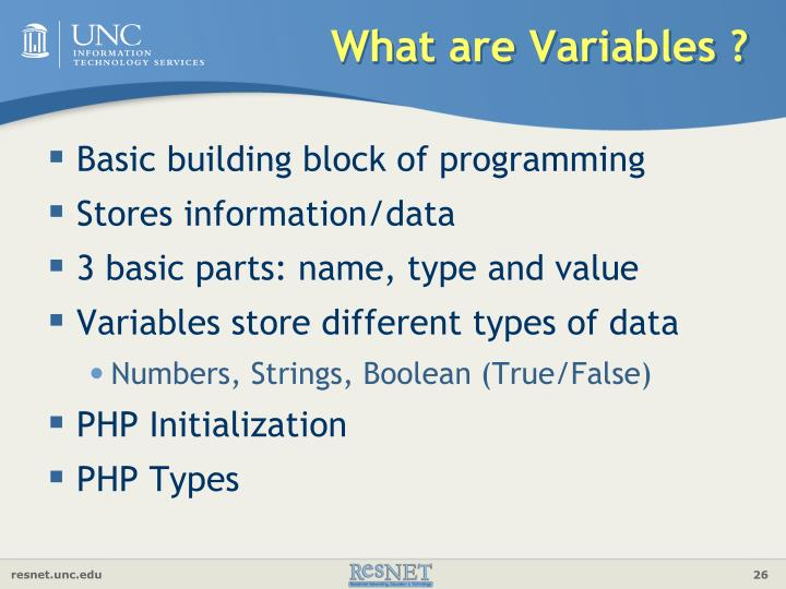 What are Variables ?