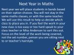 next year in maths