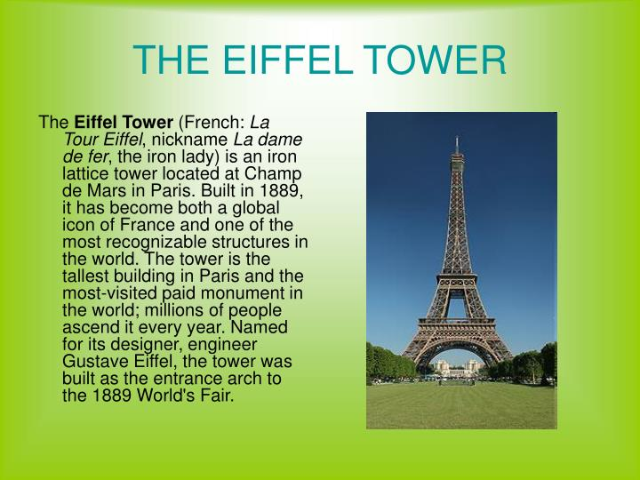 PPT - THE EIFFEL TOWER PowerPoint Presentation, free download - ID ...