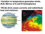variation in temperature generates winds n b mirrror of s and n hemispheres