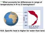what accounts for differences in range of temperatures in n vs s hemisphere