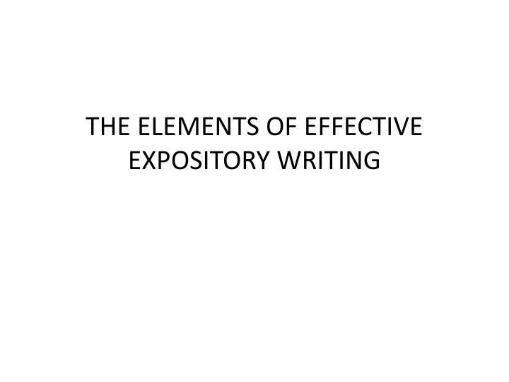 the elements of effective expository writing n.