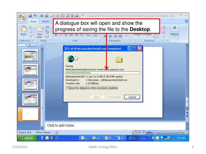 A dialogue box will open and show the progress of saving the file to the