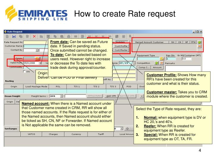 How to create Rate request