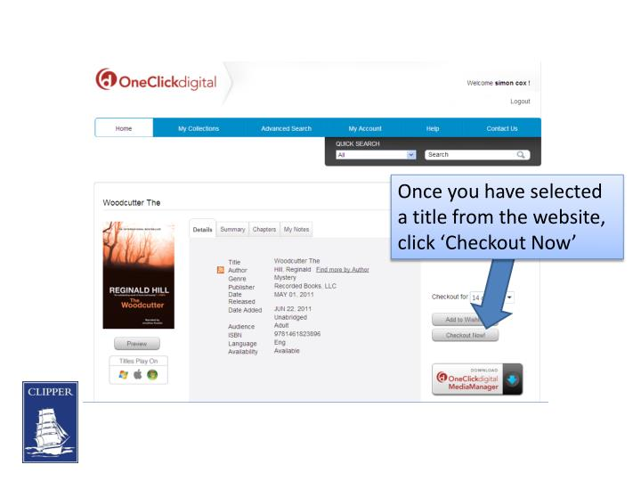 Once you have selected a title from the website, click 'Checkout Now'