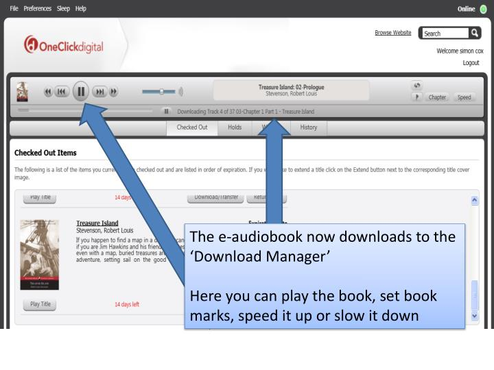 The e-audiobook now downloads to the 'Download Manager'