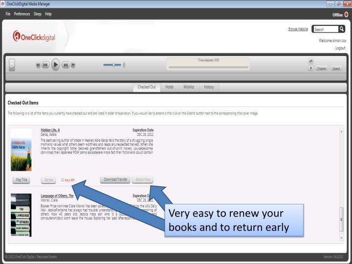 Very easy to renew your books and to return early