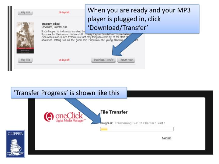 When you are ready and your MP3 player is plugged in, click 'Download/Transfer'