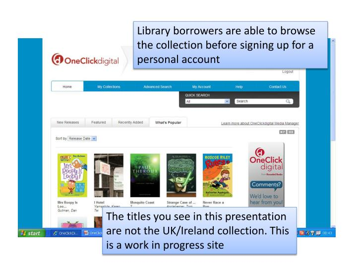 Library borrowers are able to browse the collection before signing up for a personal account