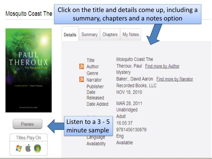 Click on the title and details come up, including a summary, chapters and a notes option