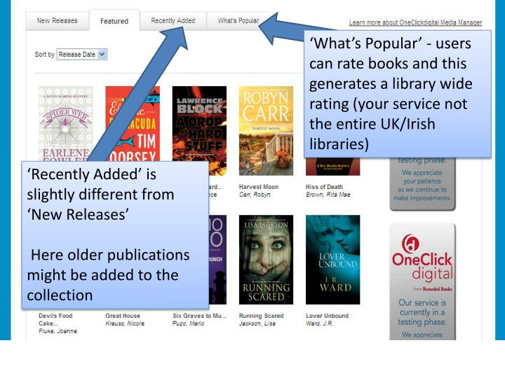 'What's Popular' - users can rate books and this generates a library wide rating (your service not the entire UK/Irish libraries)