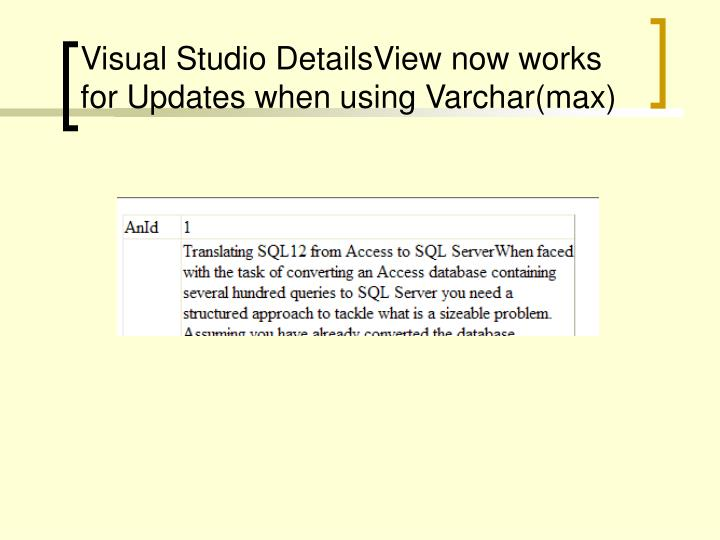 Visual Studio DetailsView now works for Updates when using Varchar(max)