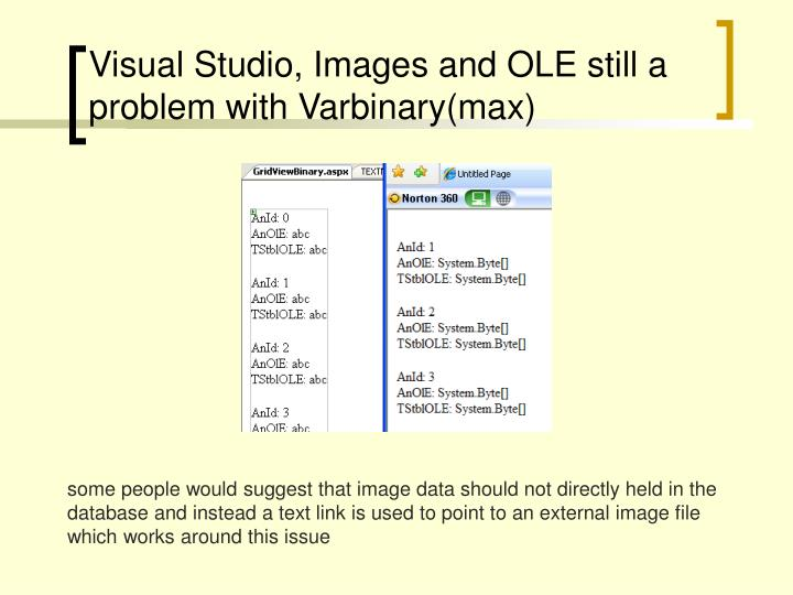 Visual Studio, Images and OLE still a problem with Varbinary(max)