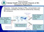work in progress global health and climate impacts of bc emissions reductions