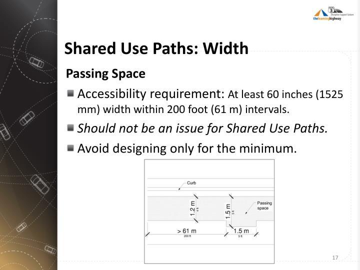 Shared Use Paths: Width