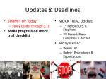 updates deadlines
