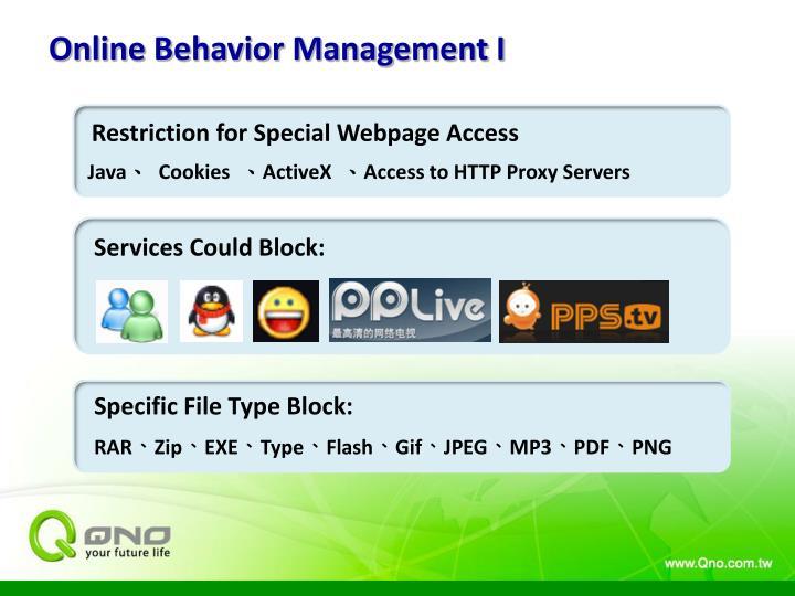 Online Behavior Management I