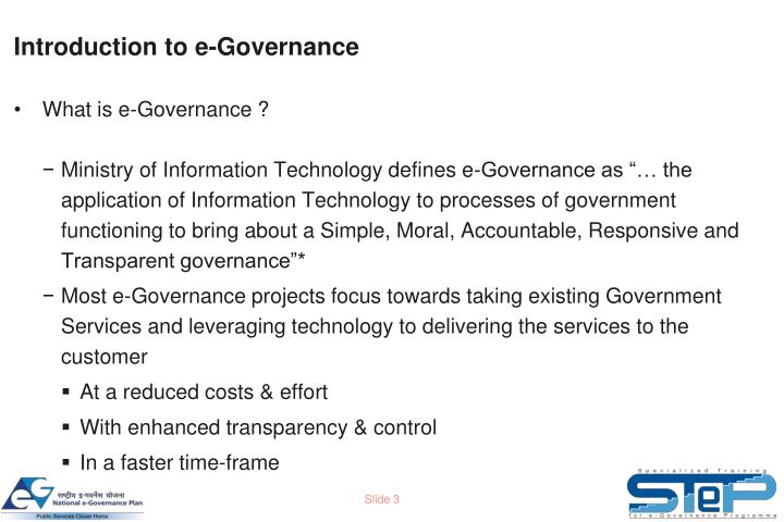 Introduction to e governance