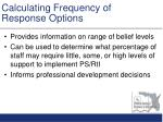 calculating frequency of response options