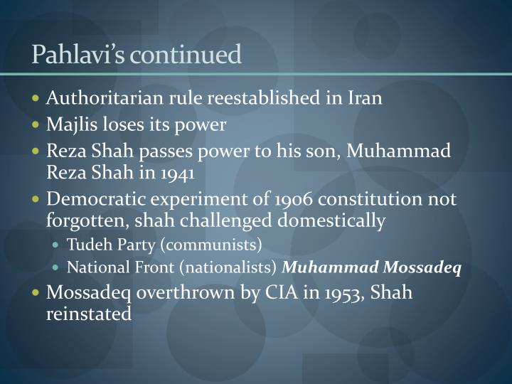 Pahlavi's continued
