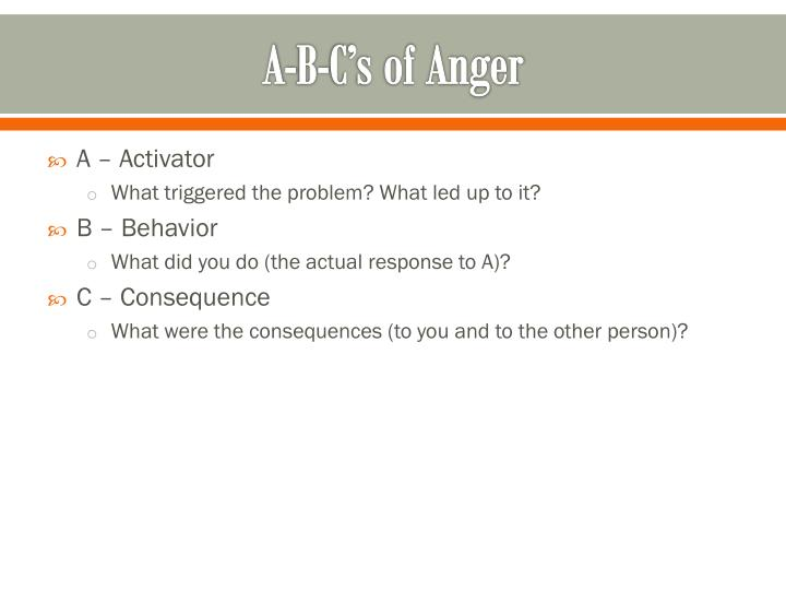 A-B-C's of Anger