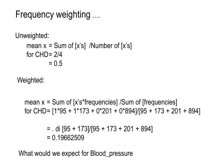 Frequency weighting