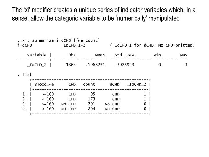 The 'xi' modifier creates a unique series of indicator variables which, in a