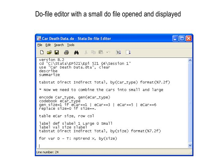 Do-file editor with a small do file opened and displayed