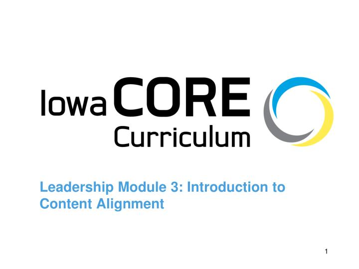 leadership module 3 introduction to content alignment n.