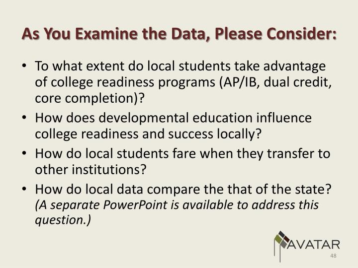 As You Examine the Data, Please Consider: