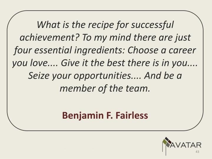 What is the recipe for successful achievement? To my mind there are just four essential ingredients: Choose a career you love.... Give it the best there is in you.... Seize your opportunities.... And be a member of the