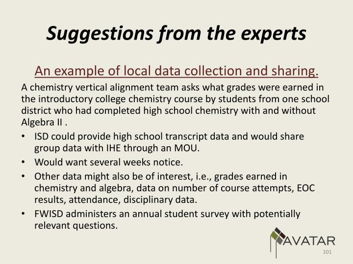 Suggestions from the experts