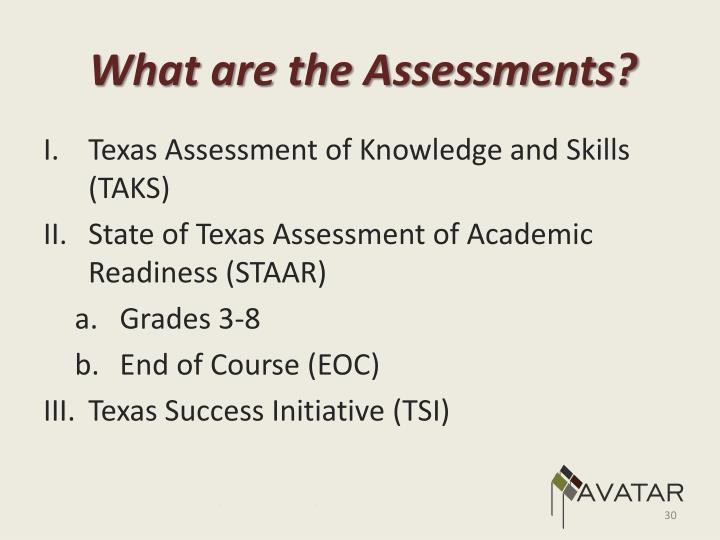What are the Assessments?