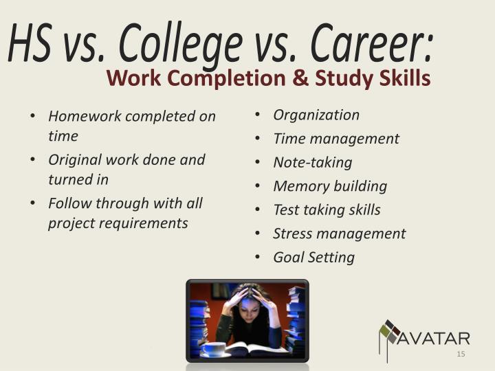 Work Completion & Study Skills