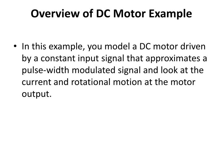 Overview of dc motor example