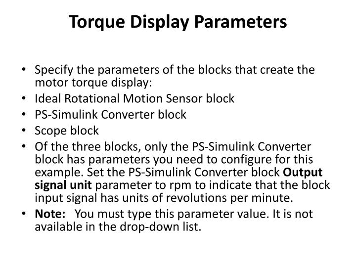 Torque Display Parameters