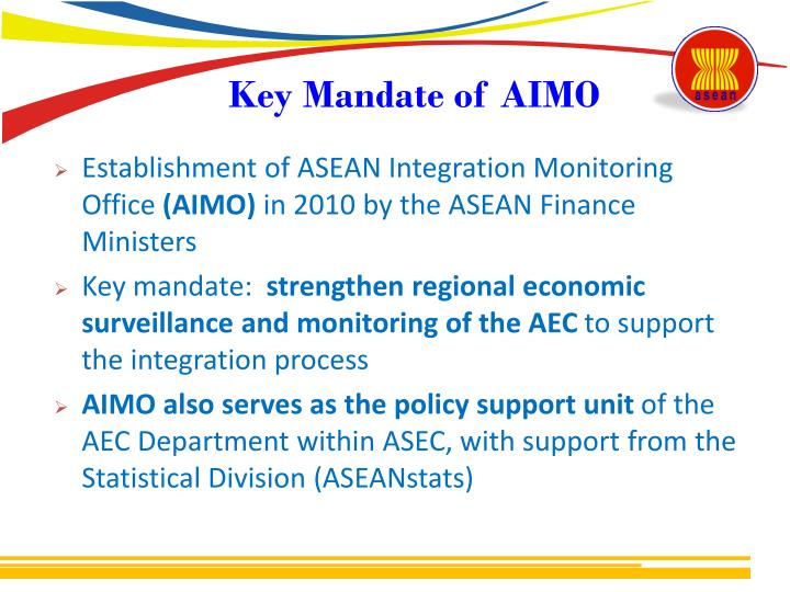 Ppt dr melanie milo asean integration monitoring office asean key mandate of aimo malvernweather Images