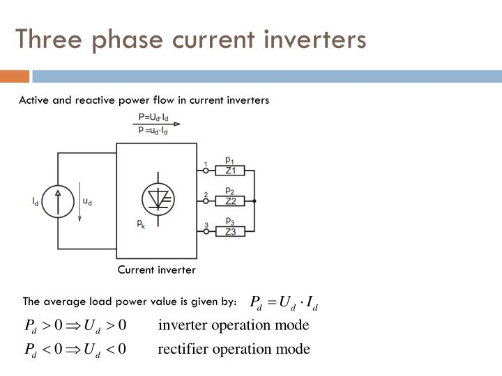 Three phase current inverters