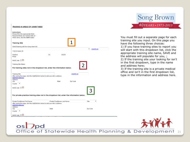 You must fill out a separate page for each training site you input. On this page you have the following three choices: