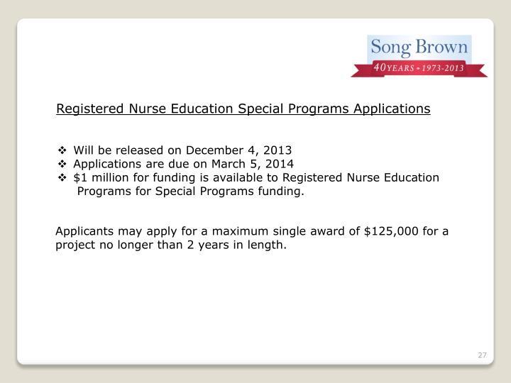 Registered Nurse Education Special Programs Applications