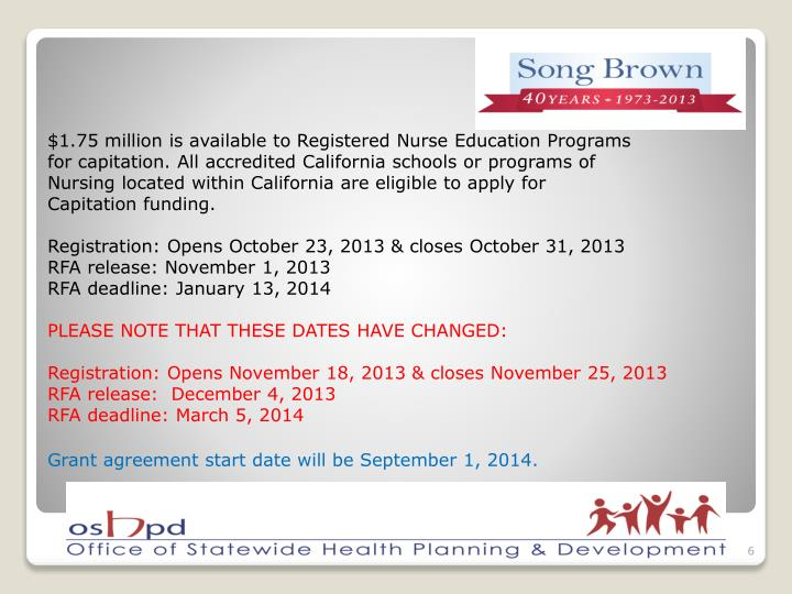 $1.75 million is available to Registered Nurse Education Programs