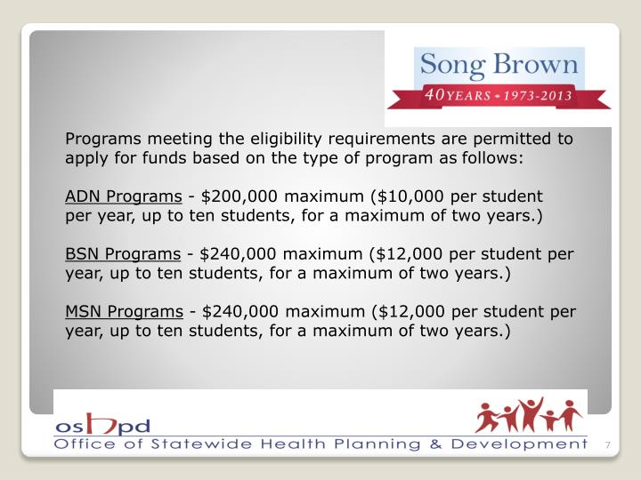 Programs meeting the eligibility requirements are permitted to