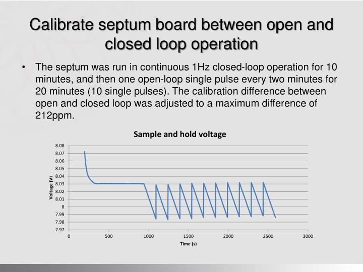Calibrate septum board between open and closed loop operation