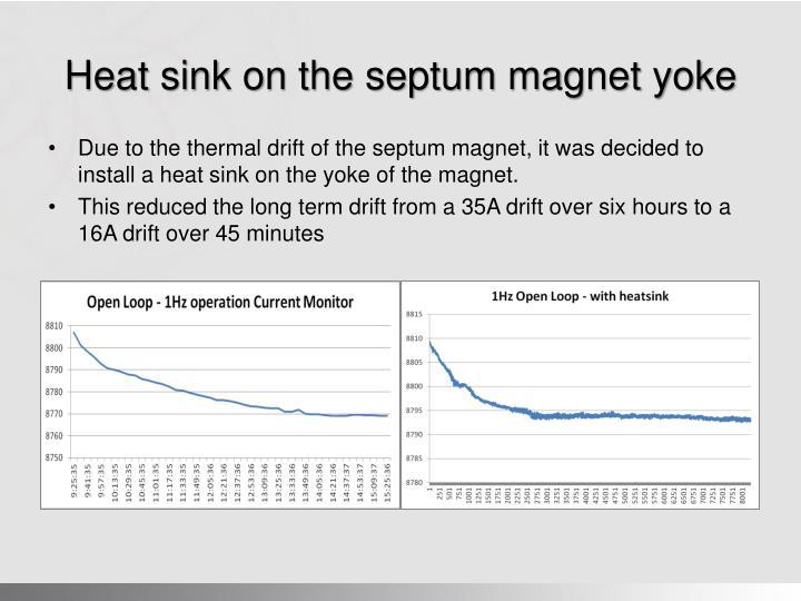 Heat sink on the septum magnet yoke