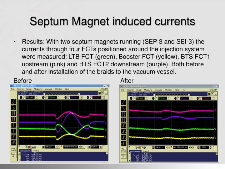 Septum Magnet induced currents