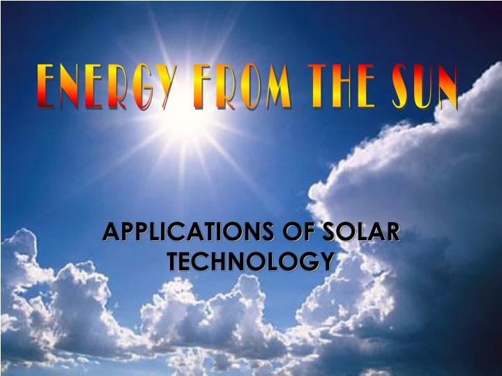 applications of solar technology n.